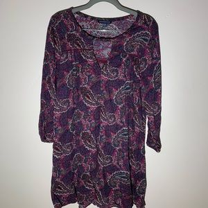 American Eagle Keyhole Paisley BOHO Swing Dress